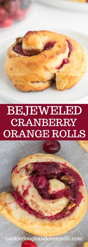 Collage of photos of the bejeweled cranberry orange rolls for pinterest