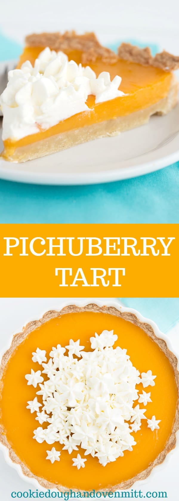 Pichuberry Tart - This tart has a shortbread cookie crust. It's baked into a tart pan and a pichuberry curd poured on top using pichuberry puree.