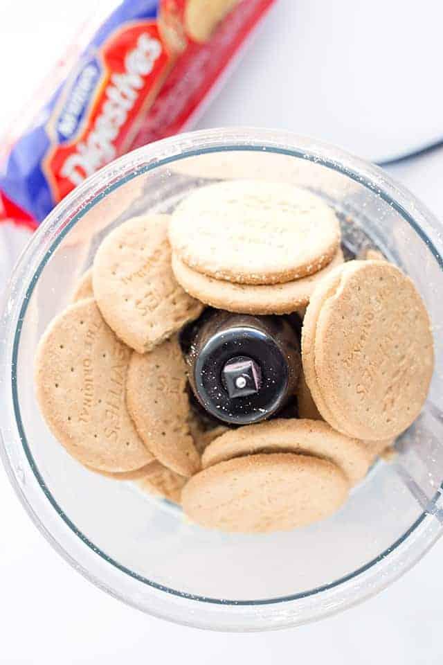 Digestive Biscuits inside a food processor