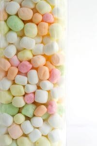 container of colorful dehydrated marshmallows