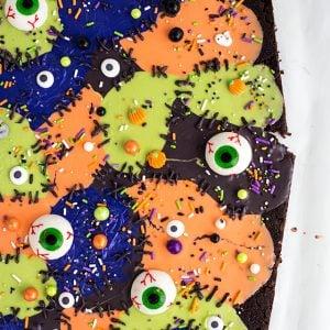 Monster Mashup Brownie Bark up close showing sprinkles