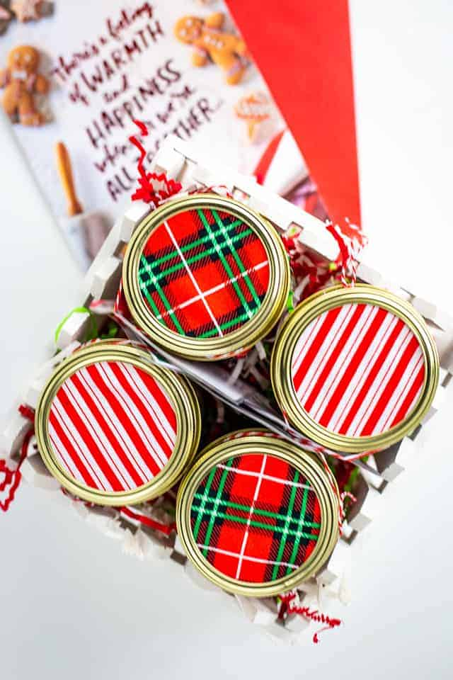 showing the Christmas fabrics in the gift box