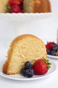 slice of pound cake with strawberries and blueberries