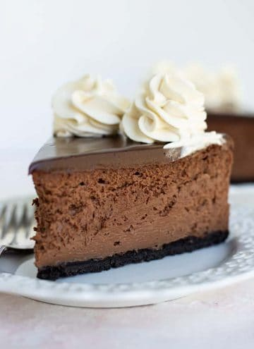 slice of baileys chocolate cheesecake with fork on white plate