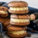 stack of 3 baileys chocolate macarons