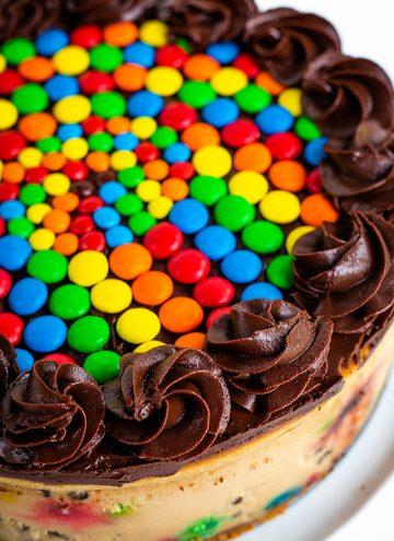 close up of ganache swirls on cheesecake