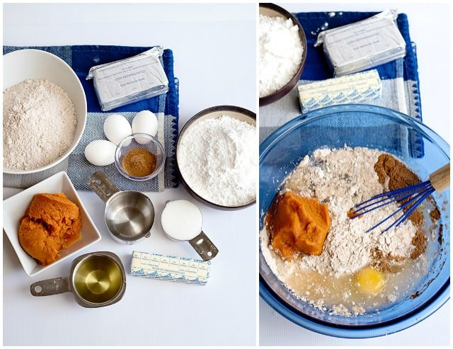 Ingredients for step one of pumpkin earthquake cake
