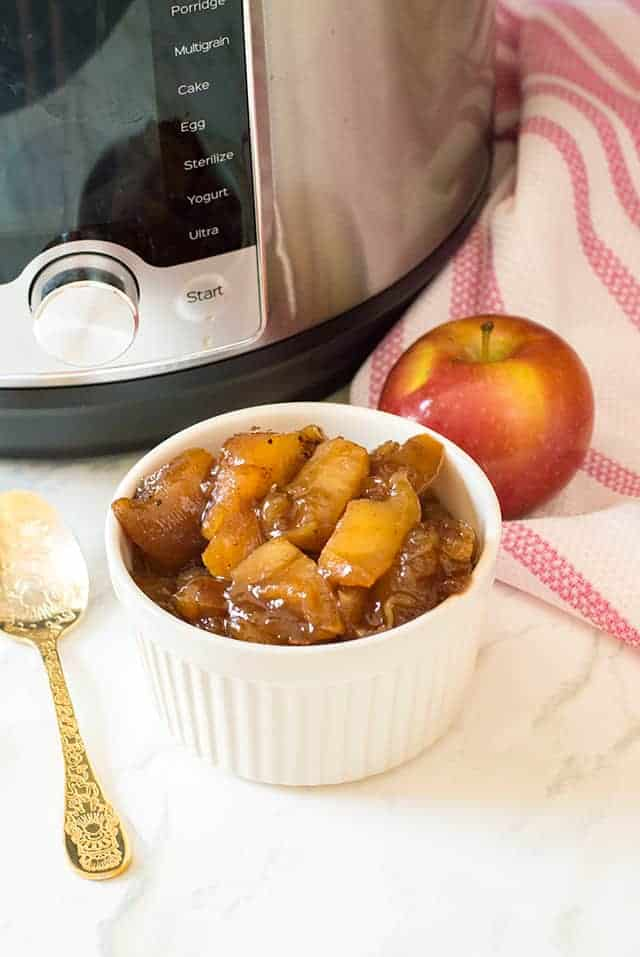 instant pot apples in a white ramekin