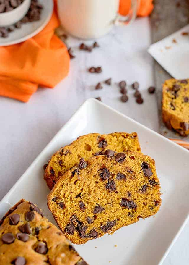 two slices of pumpkin chocolate chip bread on a plate