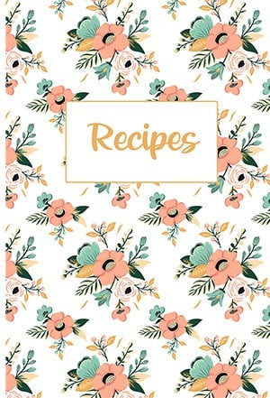 White and pastel boho flower blank recipe book cover