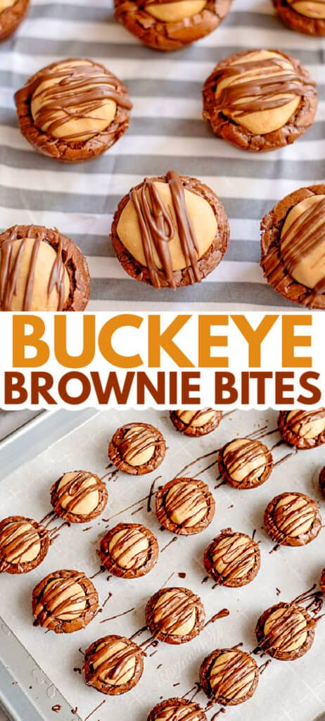 collage for pinterest showing brownie bites on a striped fabric and bites on a baking sheet