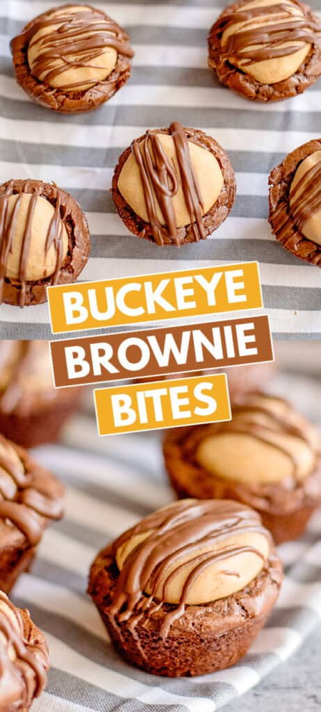 collage for pinterest showing brownie bites overhead and on the side with recipe name in boxed text