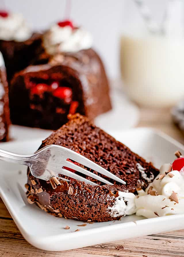 taking a bite out of choc cherry bundt cake