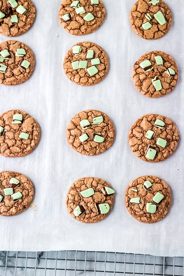 Chocolate Mint Cookies on a piece of parchment paper