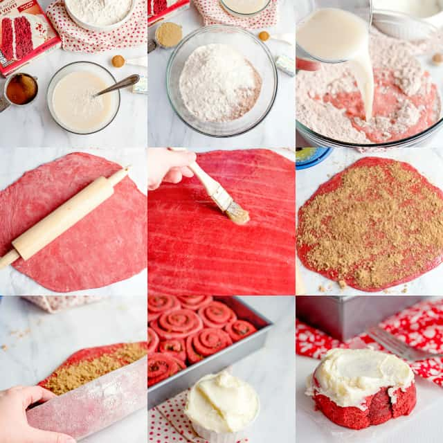 collage of photos to show how to make cinnamon rolls with cake mix