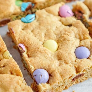close up of a sliced Easter Cookie Bar
