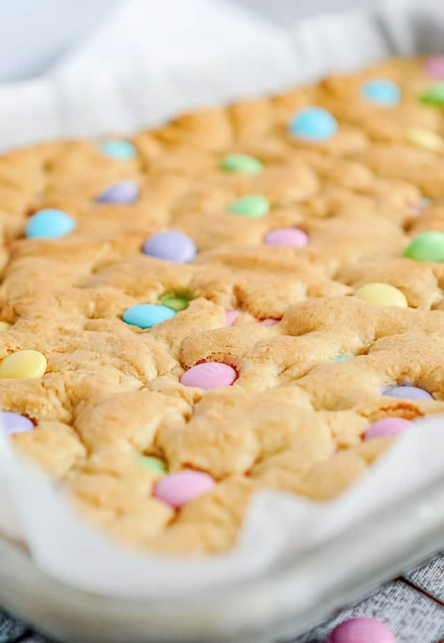 freshly baked Easter M&M Cookie Bars in baking pan