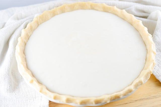 sugar milk pie before being baked