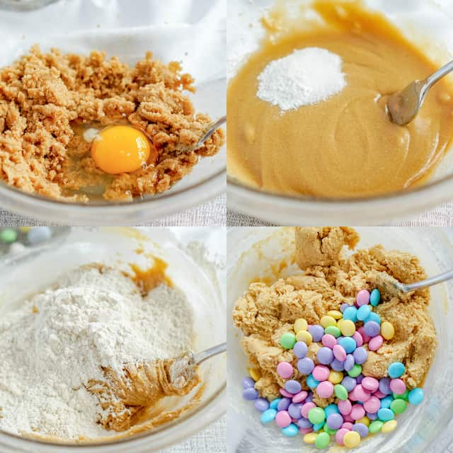 step-by-step collage of how to make easter cookie bars