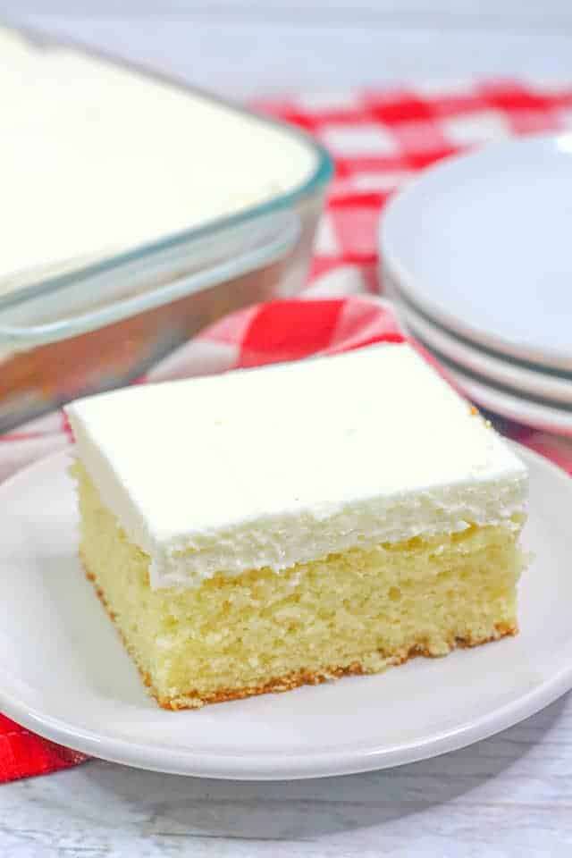 slice of wacky cake on a white plate