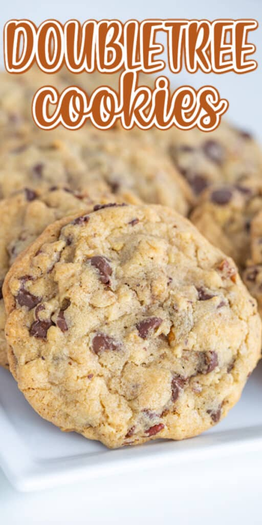 close up photo of doubletree cookies with text at the top