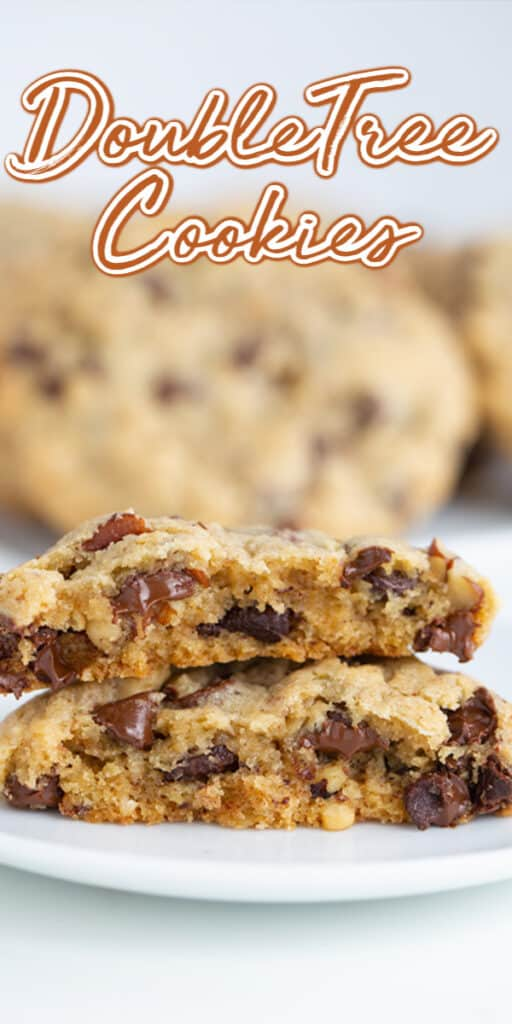 pinterest close up photo of the cookies broke in half with text