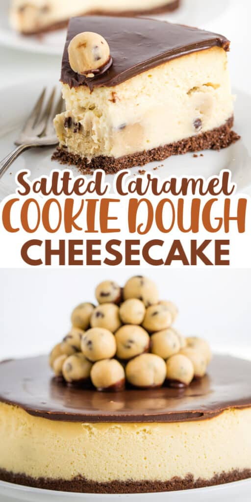 pinterest collage of two cheesecake photos with title text