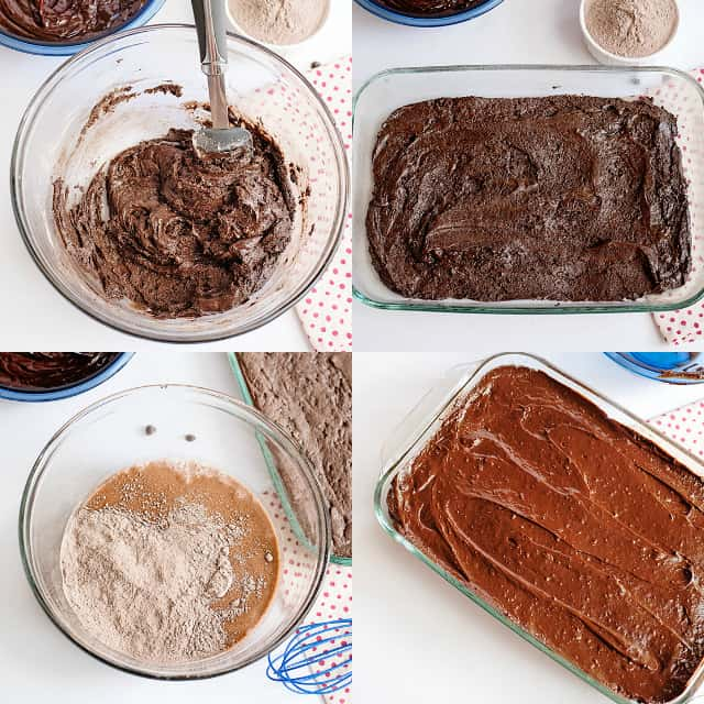 collage of ingredients being put together to create chocolate pudding bars