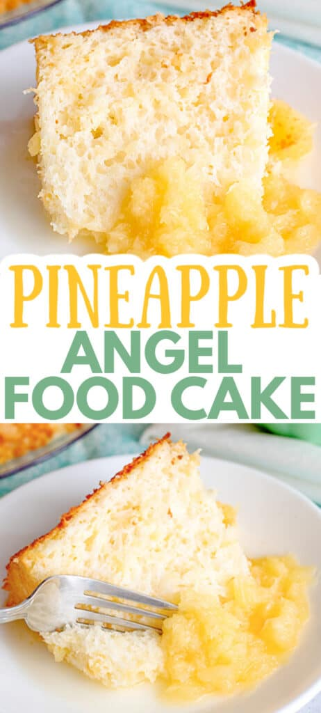 collage of photos of the angel food cake with the recipe name in large text
