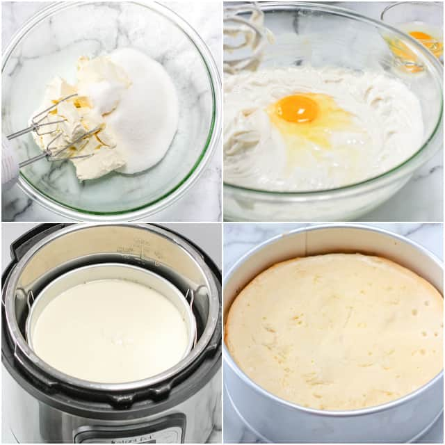collage of step-by-step photos making the cheesecake batter in a glass bowl, placing in instant pot, and a final baked cheesecake photo