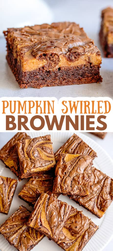 collage of brownies showing the side and tops of a pumpkin brownie with the name in text in the center