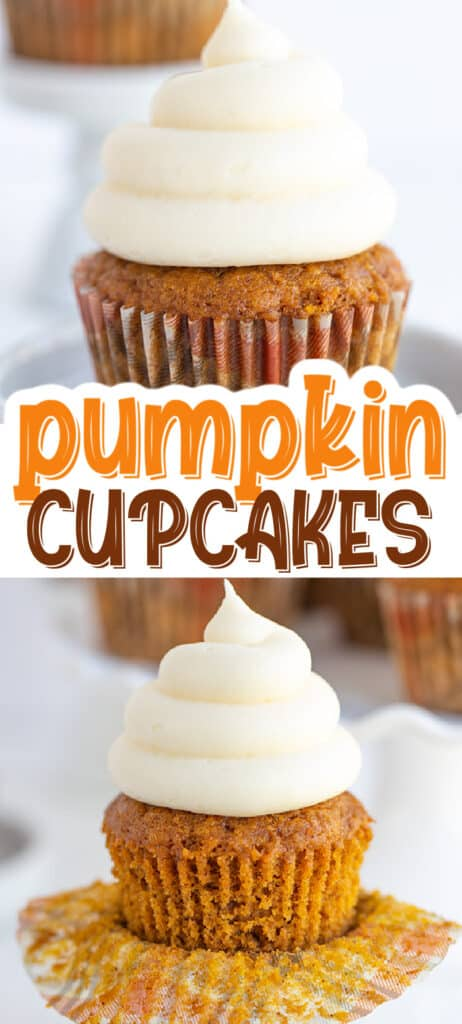 collage of two pumpkin cupcake images with text in the middle