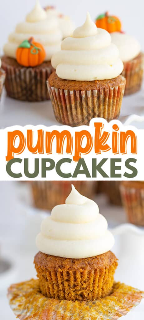 collage of pumpkin cupcake photos with the recipe name in text