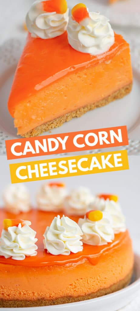 photo of a slice of cheesecake and a photo of a whole cheesecake the text in rectangles in the center