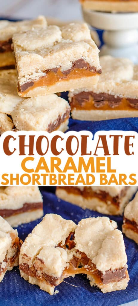 collage of photos showing the shortbread bars stacked and one broke in half showing the caramel with text in the middle