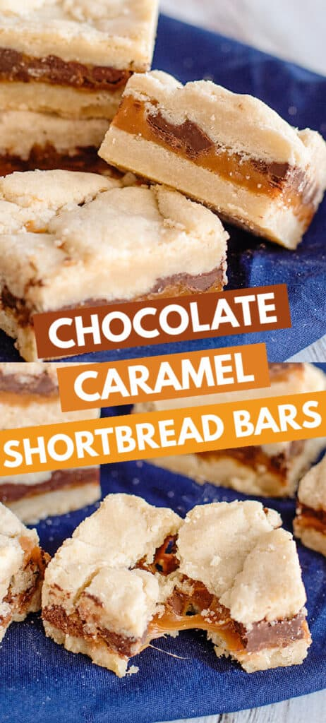 collage of photos showing the chocolate caramel shortbread bars and the bar broke in half with text in the middle