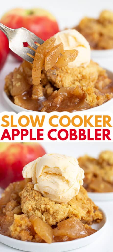 collage of two photos of apple cobbler on a dessert plate with text in the middle