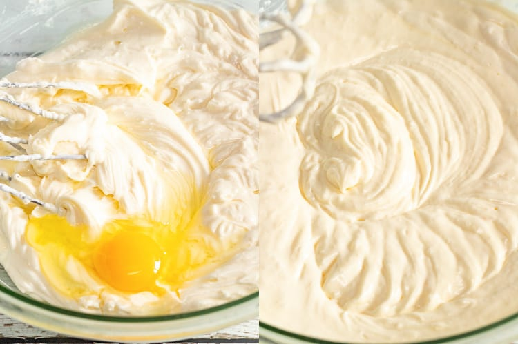 collage of two photos showing an egg being added to cheesecake batter than the batter mixed together