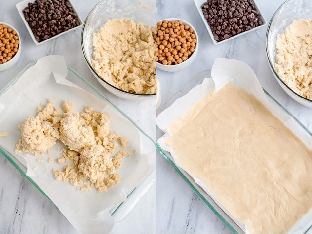 collage of photos adding shortbread to a baking dish