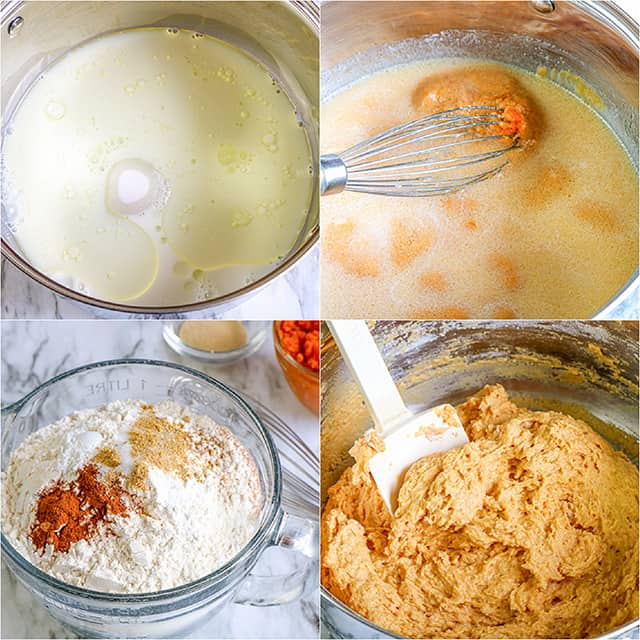 collage of photos adding ingredients to a bowl to make cinnamon roll dough