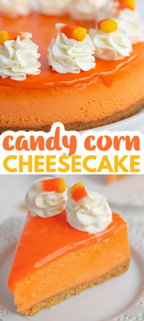 two photos of a candy corn cheesecake with recipe name in the middle