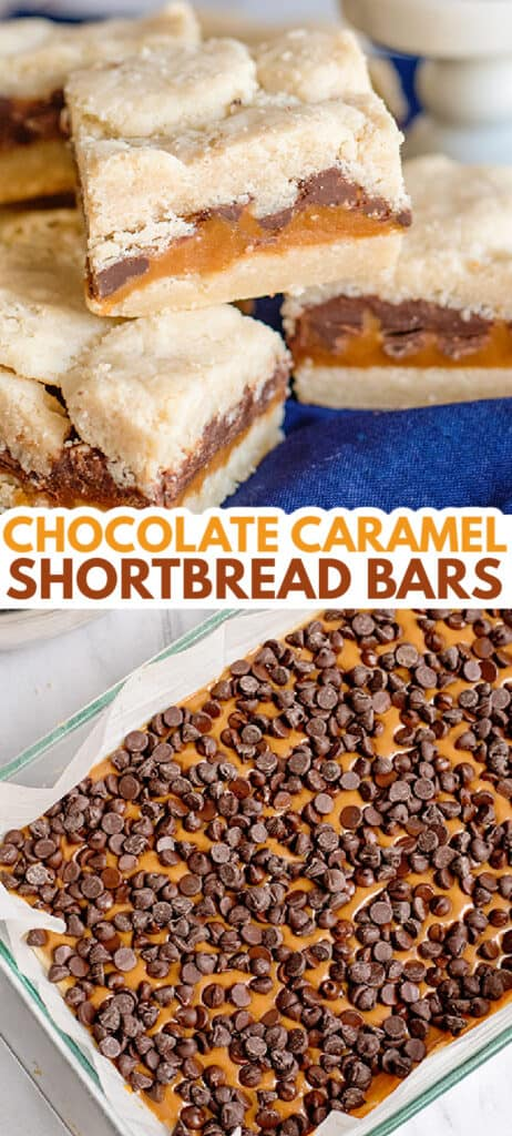 collage of photos showing shortbread bars and a pan of the bars with caramel and chocolate chips