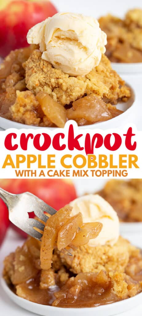 collage of apple cobbler photos with text