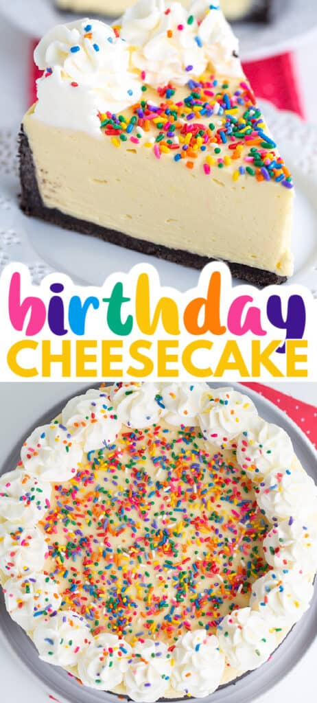 two images of no bake cheesecake with text in the center