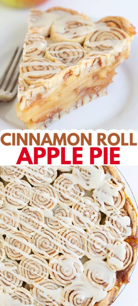 pinterest collage of a slice of pie and the whole pie with text in the middle