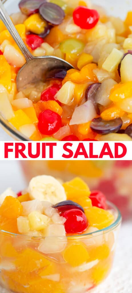 collage showing the bowl of fruit salad with a serving spoon in it and a second image with a small bowl of salad and recipe name in the middle