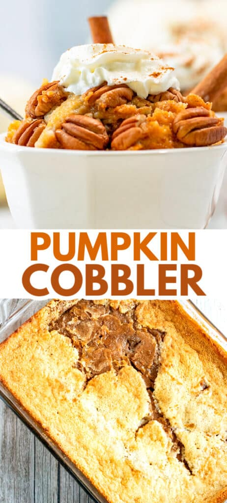 collage for pinterest of a bowl of cobbler and a pan of cobbler with text in the middle