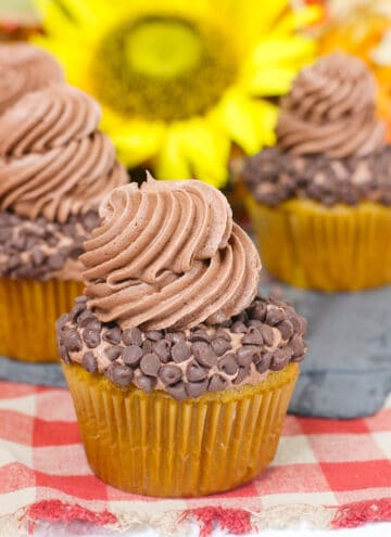 cupcakes on a red checkered fabric with a yellow flower behind it