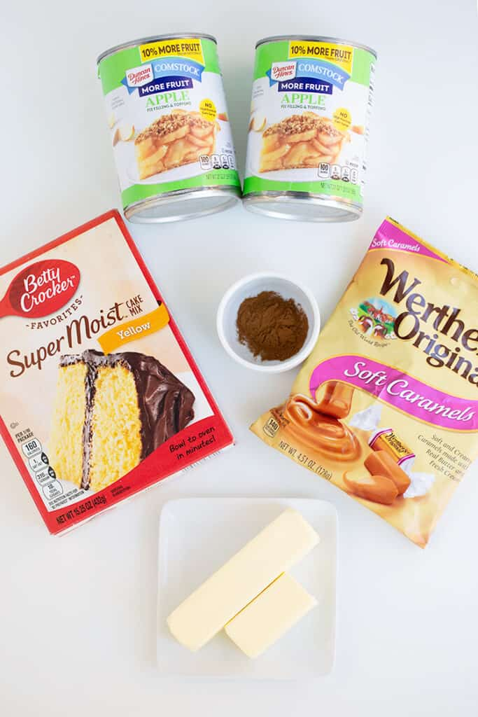 ingredients for the dump cake on a white surface