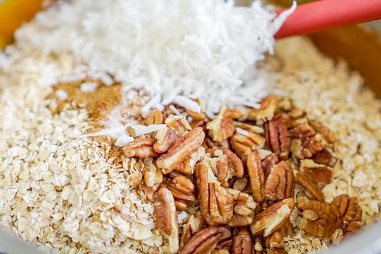 oats, pecans, coconut in a saucepan